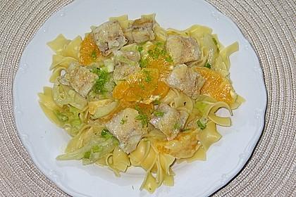 Tagliatelle an Orangen-Fenchel-Sauce mit gebratenen Kabeljaufiletstücken 9