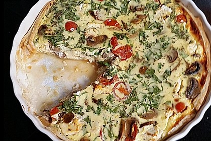 Quiche mit Tomaten, Pilzen, Feta und Rucola 1
