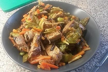 Gelbflossen-Thunfischfilet mit Wokgemüse mit Sweet Chili Sauce 1