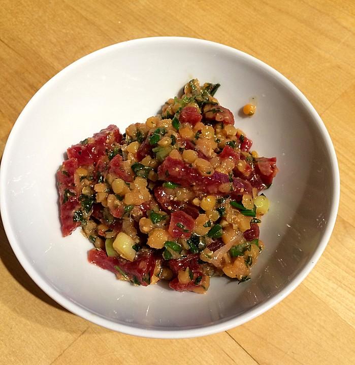 rote linsen salat mit rote beete