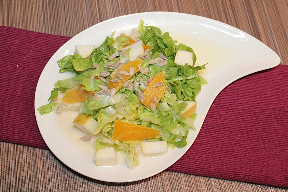 endivien apfel orangen salat mit orangen dressing und sonnenblumenkernen rezept mit bild. Black Bedroom Furniture Sets. Home Design Ideas