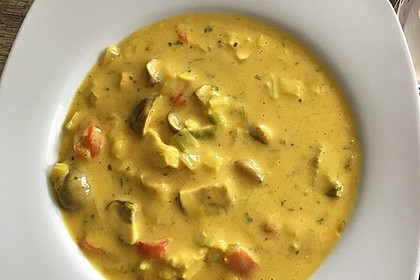 Hähnchen-Curry-Lauch-Suppe 1