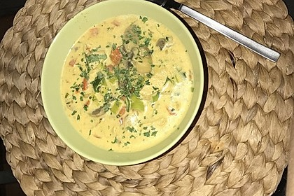 Hähnchen-Curry-Lauch-Suppe 3