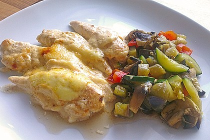 Hähnchenfilets mit Käsehaube 1