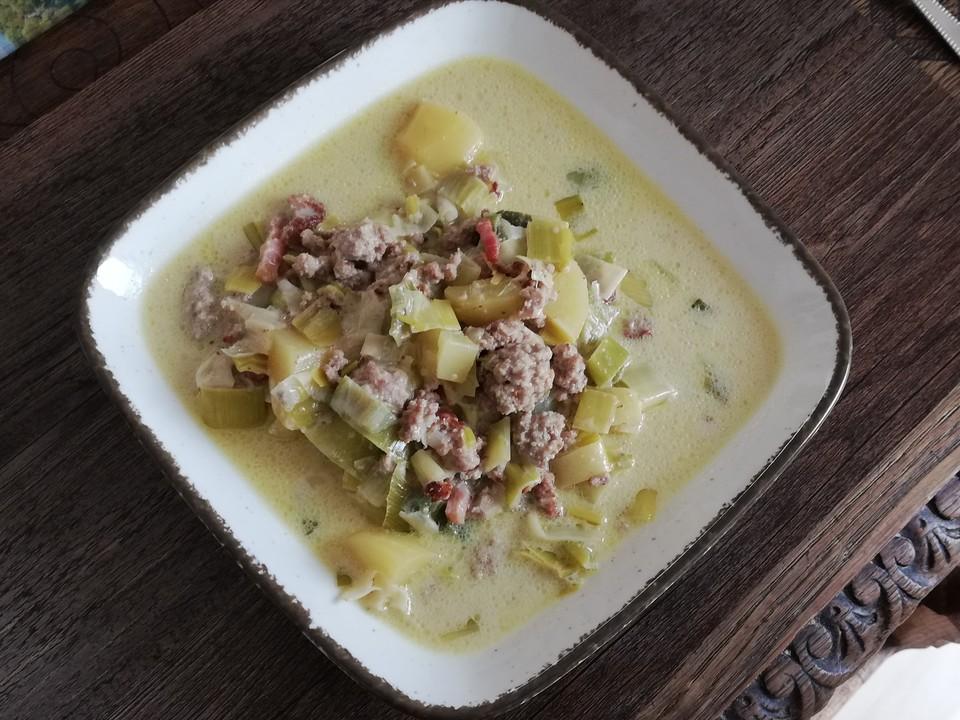 Käsesuppe rezept mit hackfleisch und porree