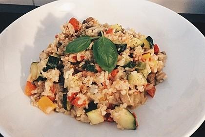 Bunte mediterrane Gemüsepfanne mit Reis 2
