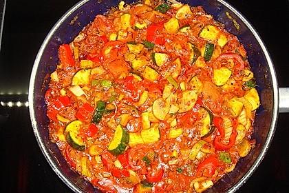 Bunte mediterrane Gemüsepfanne mit Reis 12