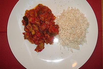 Bunte mediterrane Gemüsepfanne mit Reis 27