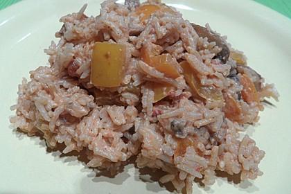 Bunte mediterrane Gemüsepfanne mit Reis 13