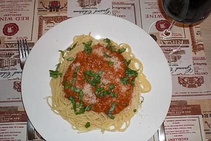 Spaghetti mit Sahne - Tomatenmark - Hackfleisch - Sauce 1