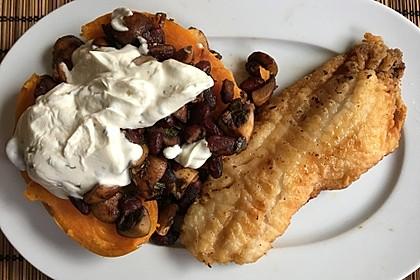Gebackene Süßkartoffeln gefüllt mit Pilzen 18