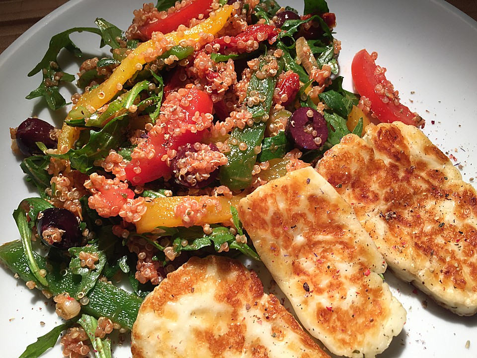 quinoa salat mit gebratenem halloumi von sessm. Black Bedroom Furniture Sets. Home Design Ideas