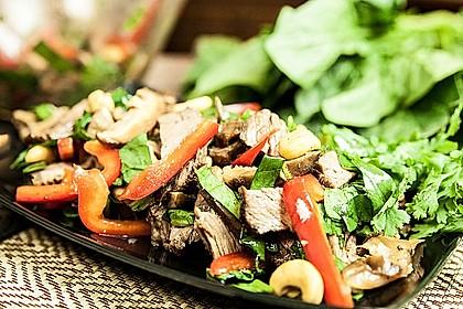 asiatischer roastbeef salat mit spinat von yasiliciousde. Black Bedroom Furniture Sets. Home Design Ideas