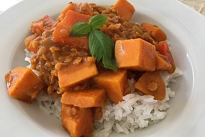 Rote Linsen Curry mit Süßkartoffeln 1