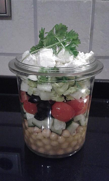 salat im glas salat f rs b ro griechischer salat von iffets78. Black Bedroom Furniture Sets. Home Design Ideas