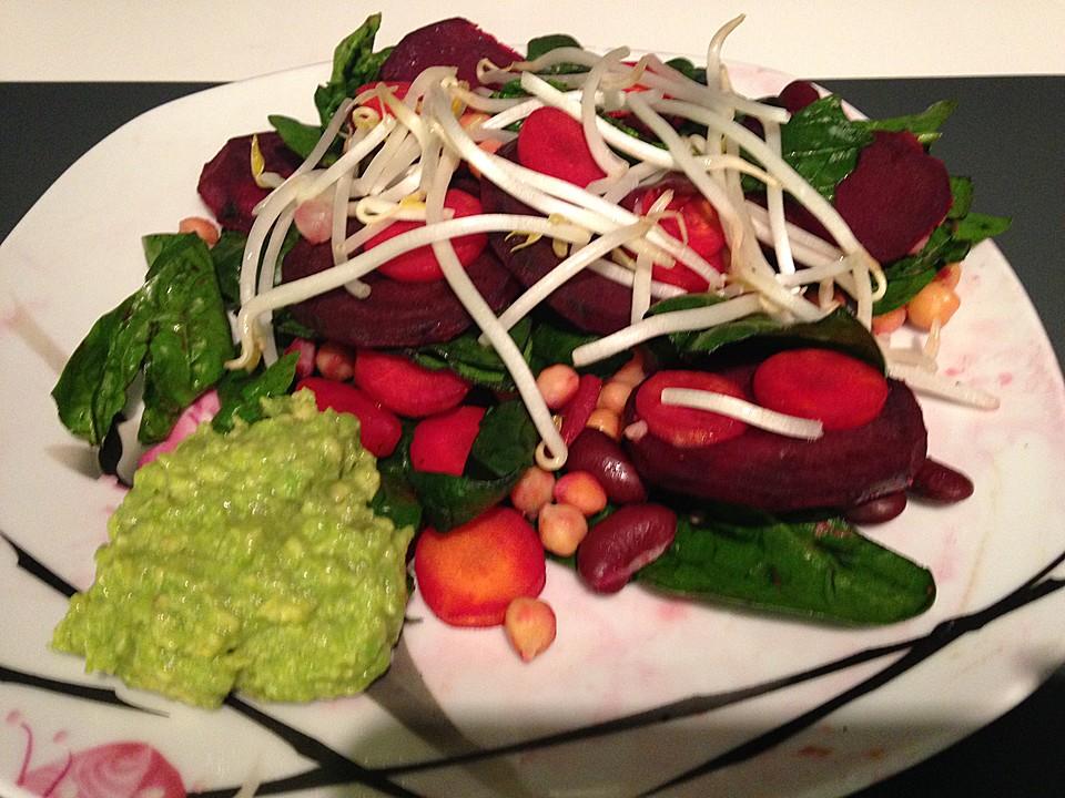spinat randen salat mit avocadohummus von sandrina86. Black Bedroom Furniture Sets. Home Design Ideas