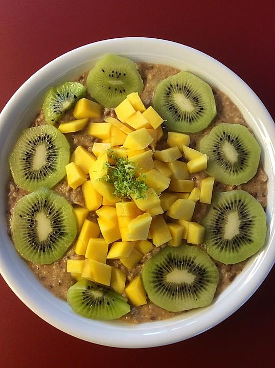 oatmeal mit mango und kiwi rezept mit bild von kaschka911. Black Bedroom Furniture Sets. Home Design Ideas