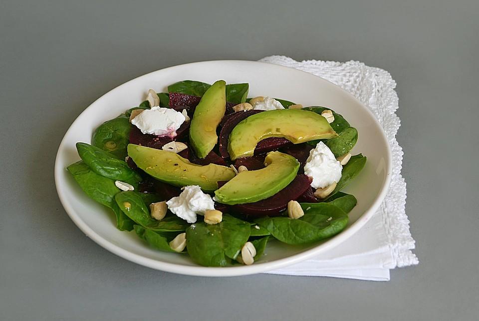 spinat rote bete salat mit avocado rezept mit bild. Black Bedroom Furniture Sets. Home Design Ideas