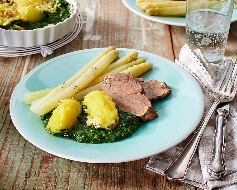 gratinierte rahm spinat kartoffeln mit spargel und schweinefilet rezept mit bild. Black Bedroom Furniture Sets. Home Design Ideas
