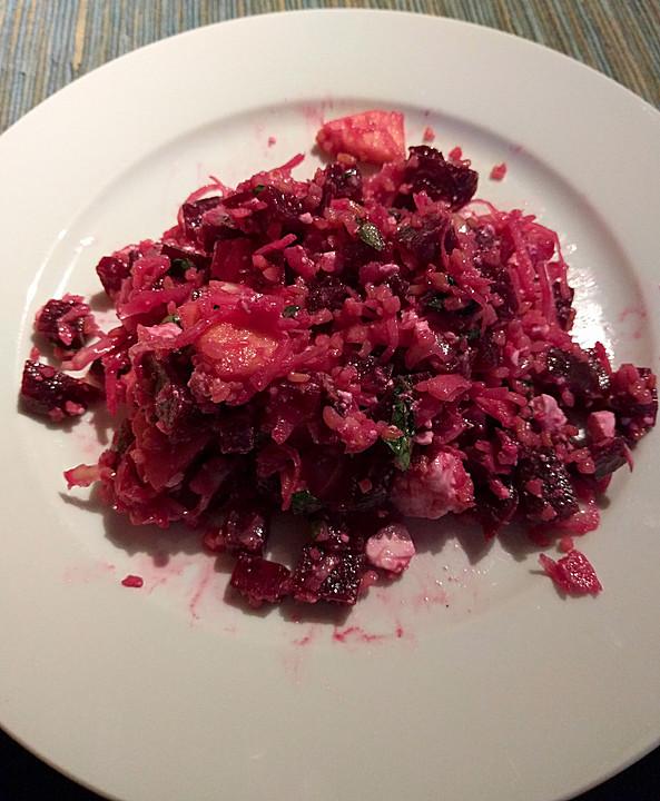 rote bete apfel salat mit bulgur feta und minze rezept mit bild. Black Bedroom Furniture Sets. Home Design Ideas