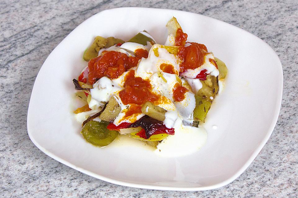 Ofengemüse mediterran, rot-weiß (Rezept mit Bild ...