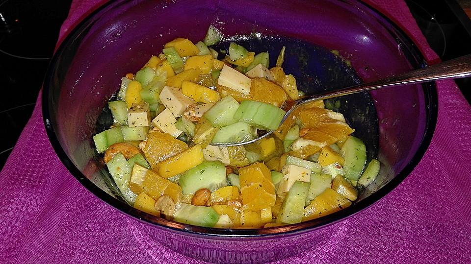 gurken mango salat mit orangen rezept mit bild von inkn63. Black Bedroom Furniture Sets. Home Design Ideas