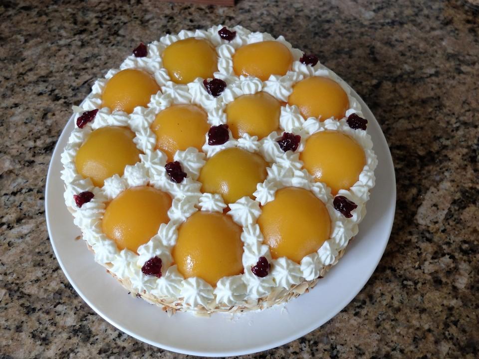 pfirsich marzipan torte rezept mit bild von kakasie. Black Bedroom Furniture Sets. Home Design Ideas