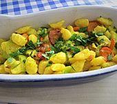 Curry-Nudelauflauf mit Möhre und Porree