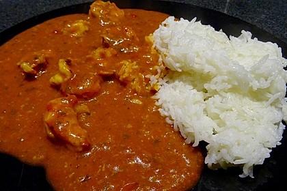 Curry mit Garnelen und Reis