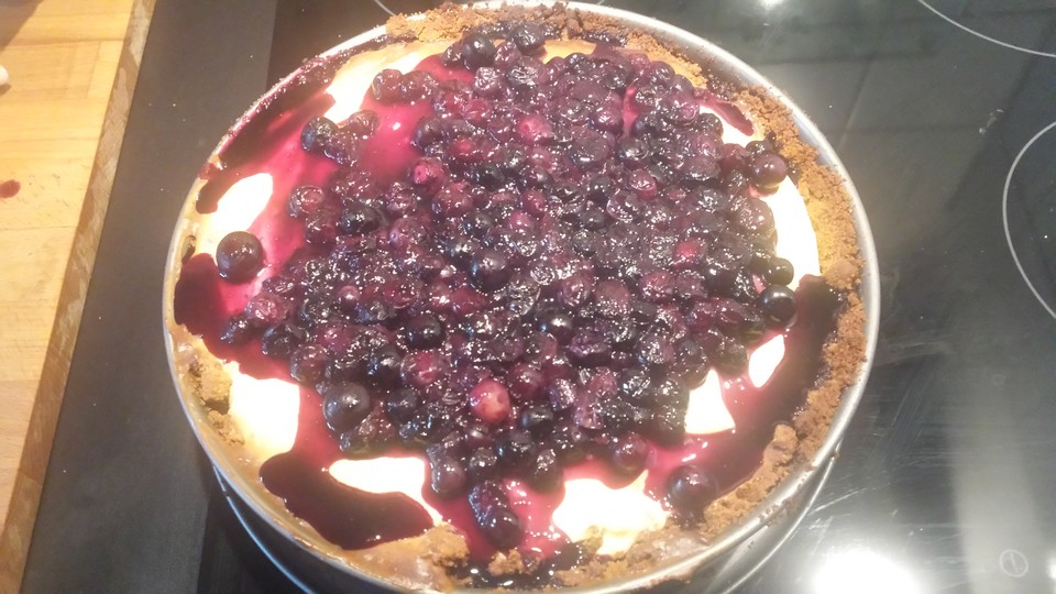 new york cheesecake mit blueberrytopping rezept mit bild. Black Bedroom Furniture Sets. Home Design Ideas