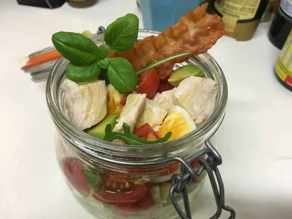 h hnchen bacon ei salat rezept mit bild von jhin. Black Bedroom Furniture Sets. Home Design Ideas