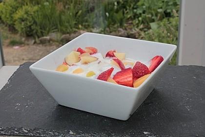 Aprikosen, Nektarinen und Erdbeeren in Honig-Quark-Sauce 1
