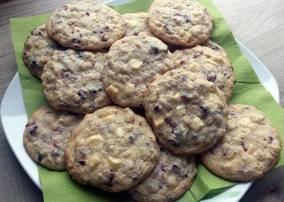 cranberry schoko cookies mit haferflocken rezept mit bild. Black Bedroom Furniture Sets. Home Design Ideas