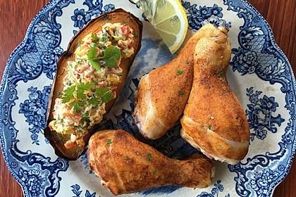 Ofen-Hähnchen-Keulen mit Süßkartoffeln