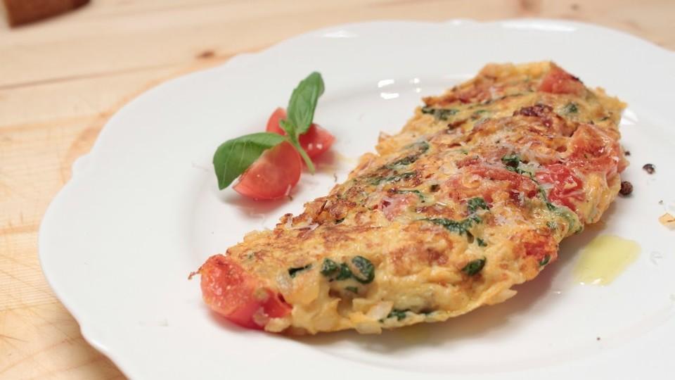 omelette mit tomaten spinat und spargel rezept mit bild. Black Bedroom Furniture Sets. Home Design Ideas