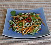 Gurken-Möhren-Salat mit würzig-scharfem asiatischem Dressing