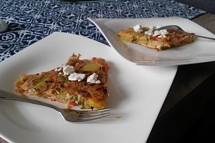 Vegetarische Tortilla mit Paprika, Lauch und Feta Käse 1