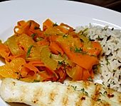 Möhren-Fenchel-Gemüse in Orangen-Ingwer-Sauce