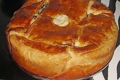 Blätterteig - Pie mit Hackfleisch - Spinat Füllung 11
