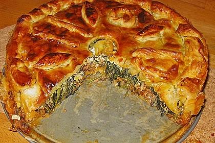 Blätterteig - Pie mit Hackfleisch - Spinat Füllung