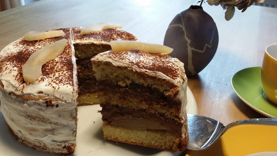 kleine birnen schoko torte rezept mit bild von ymerdrys. Black Bedroom Furniture Sets. Home Design Ideas