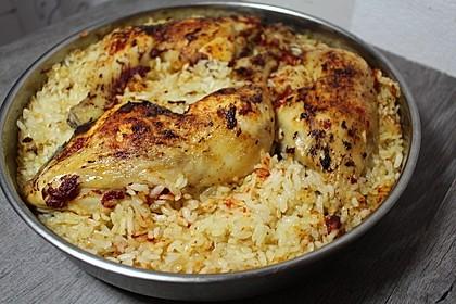 Hähnchenkeule mit Reis im Ofen 1