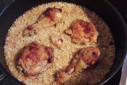 Hähnchenkeule mit Reis im Ofen 2