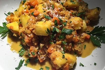 Linsencurry mit Mango und Kokos 4