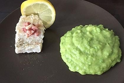 Seelachsfilet mit Speck und Kartoffel-Erbsen-Püree 8