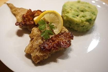 Seelachsfilet mit Speck und Kartoffel-Erbsen-Püree 2