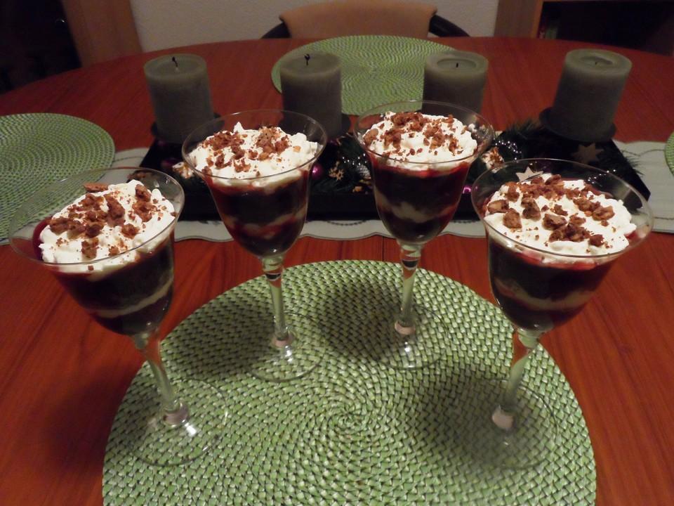schoko kirsch dessert rezept mit bild von soja2010. Black Bedroom Furniture Sets. Home Design Ideas