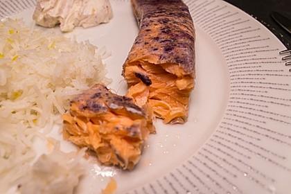 Sous Vide Lachs mit Frischkäsecreme und Duftreis
