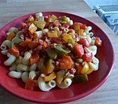 Nudeln mit Paprika-Schinkensauce
