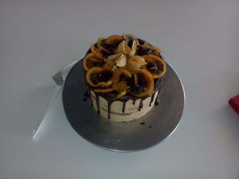schoko orangen karamell torte rezept mit bild von cookissimo. Black Bedroom Furniture Sets. Home Design Ideas